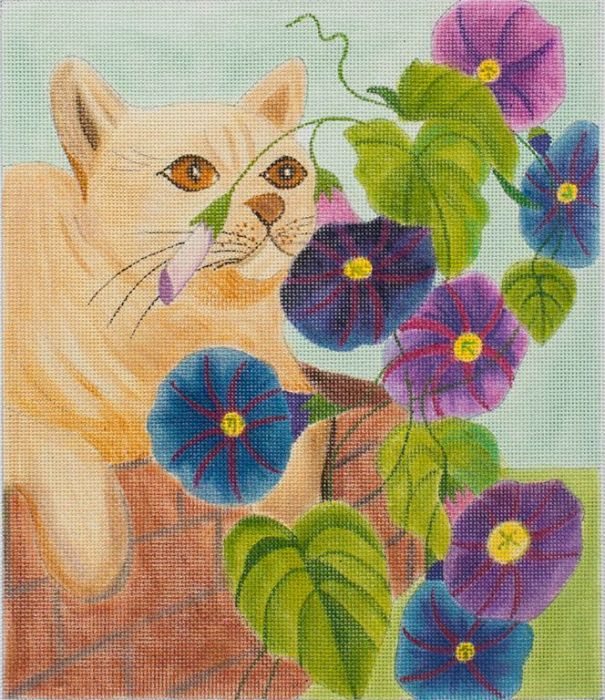click here to view larger image of Cat and Morning Glories (hand painted canvases)