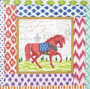 click here to view larger image of Exotic Collage - Coral Horse w/ Mixed Ikat Border  (hand painted canvases)