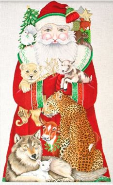 click here to view larger image of Peaceable Kingdom Santa  (hand painted canvases)
