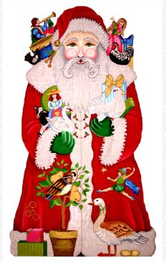 click here to view larger image of 12 Days of Christmas Santa (hand painted canvases)