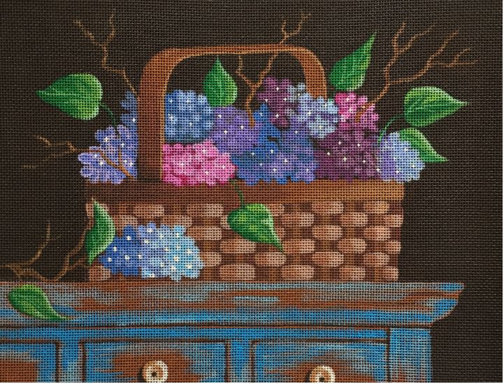 click here to view larger image of Hydrangea Basket (hand painted canvases)