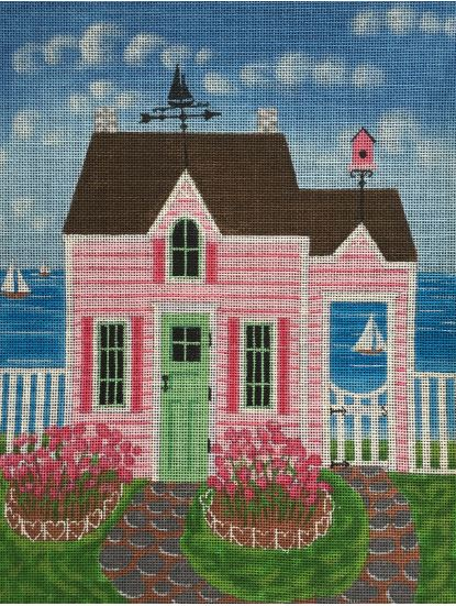 click here to view larger image of Pink Cottage (hand painted canvases)