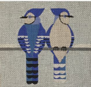 click here to view larger image of 2 Bluejays (hand painted canvases)
