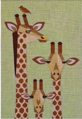 Giraffe Family hand painted canvases