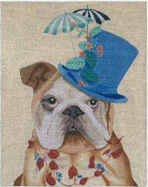 click here to view larger image of Bulldog with Milliners Hat (hand painted canvases)