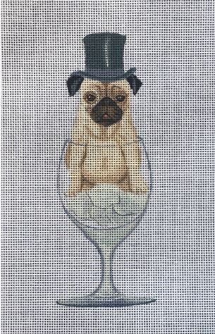 click here to view larger image of Pug in Glass (hand painted canvases)