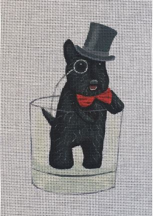 click here to view larger image of Black Scottie in Glass (hand painted canvases)