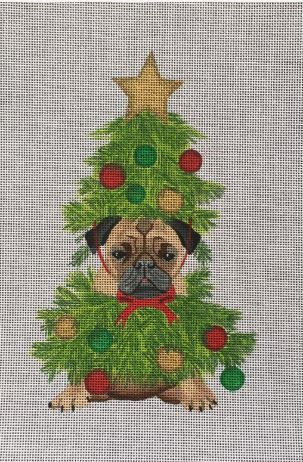 click here to view larger image of Christmas Tree Pug (hand painted canvases)