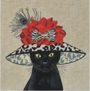 click here to view larger image of Black Cat with Big Hat (hand painted canvases)