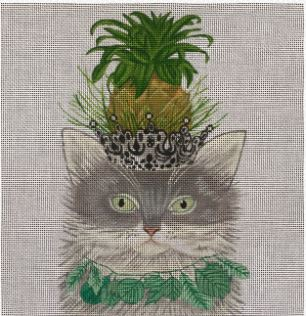 click here to view larger image of Gray Cat with Pineapple (hand painted canvases)