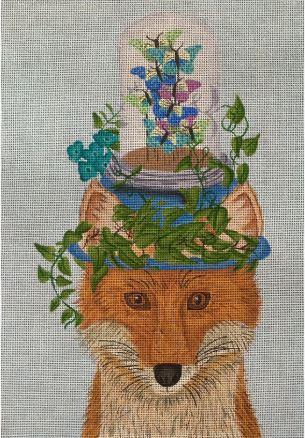 click here to view larger image of Fox with Butterfly Jar (hand painted canvases)