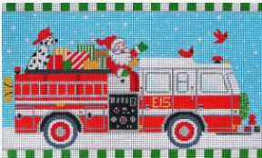 click here to view larger image of Christmas Fire Truck   (hand painted canvases)