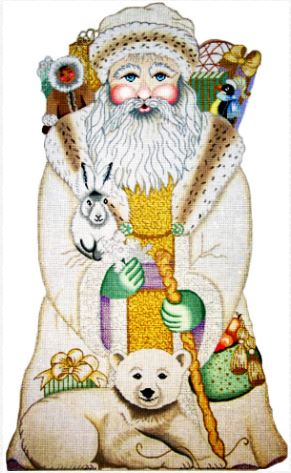 click here to view larger image of White Arctic Santa  (hand painted canvases)