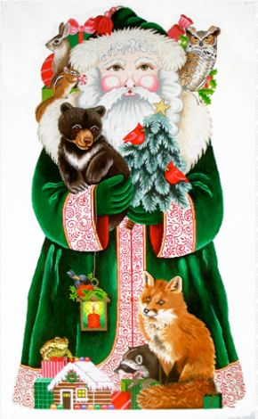 click here to view larger image of Woodland Santa  (hand painted canvases)