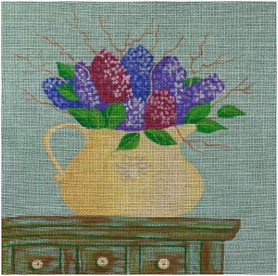 click here to view larger image of Lilac Flower Pot (hand painted canvases)