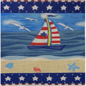 click here to view larger image of Patriotic Sailboat (hand painted canvases)