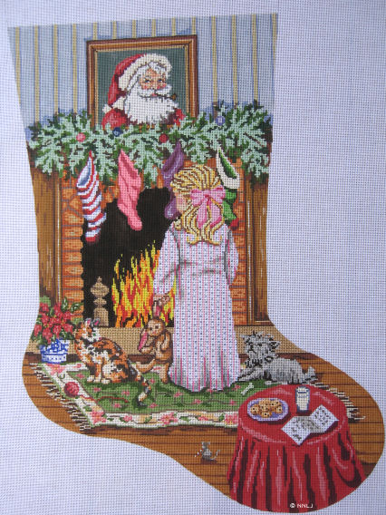 click here to view larger image of Cookies for Santa/Girl Stocking (hand painted canvases)