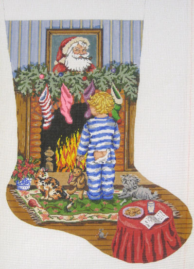 click here to view larger image of Cookies for Santa/Boy Stocking (hand painted canvases)