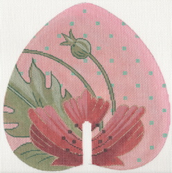 click here to view larger image of Hand Fan with Poppy (hand painted canvases)