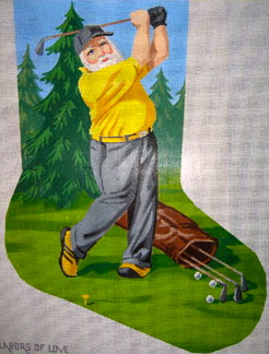click here to view larger image of Golfing Santa (hand painted canvases)