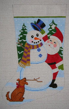 click here to view larger image of Santa and Snowman (hand painted canvases)