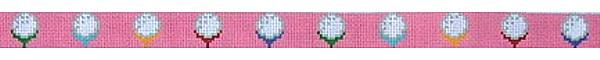 click here to view larger image of Golf Balls on Pink Belt (hand painted canvases)
