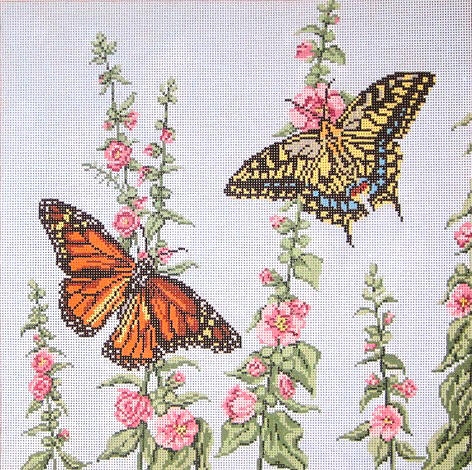 click here to view larger image of Butterfly Garden Square (hand painted canvases)