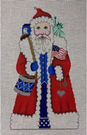 click here to view larger image of Patriotic Santa (hand painted canvases)