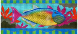 click here to view larger image of Pink Tailed Yellow Fish (hand painted canvases)