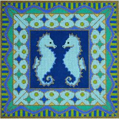 click here to view larger image of Seahorses (hand painted canvases)