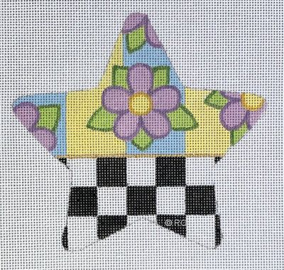 click here to view larger image of Checkered Lavender Flower Star (hand painted canvases)