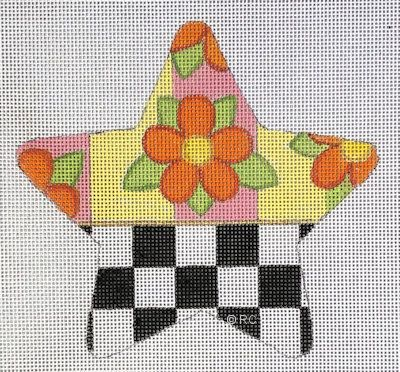 click here to view larger image of Checkered Orange Flower Star (hand painted canvases)