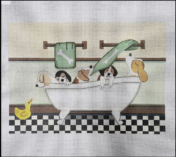 click here to view larger image of Beagles Fill Tub at Bath Time (hand painted canvases)