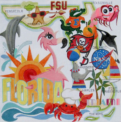 click here to view larger image of Florida (hand painted canvases)