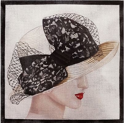 click here to view larger image of Black Lace Hat (hand painted canvases)