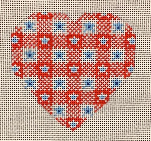 click here to view larger image of  Red and Blue Heart (hand painted canvases)
