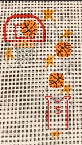 click here to view larger image of Basketball Candy Cane  (hand painted canvases)