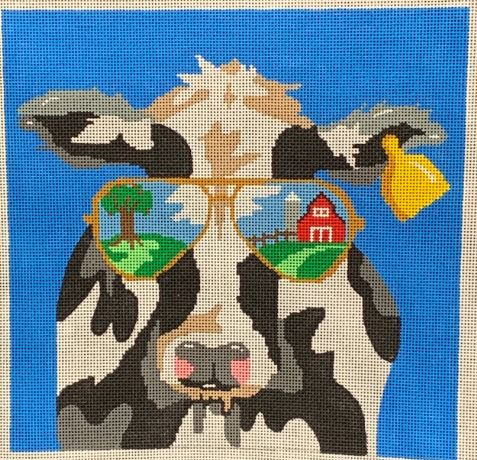 click here to view larger image of Sunglasses Cow (hand painted canvases)