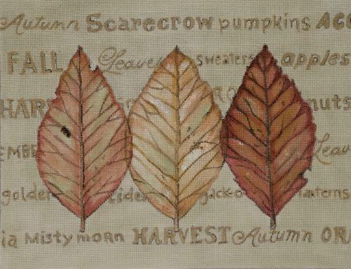 click here to view larger image of Fall Leaves with Words (hand painted canvases)