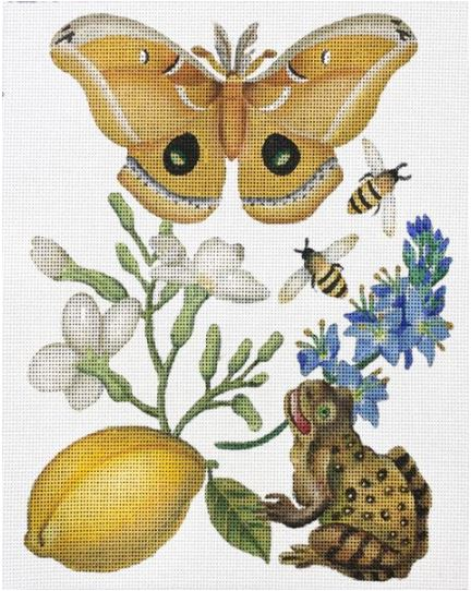 click here to view larger image of Butterfly Botanical with Frog (hand painted canvases)