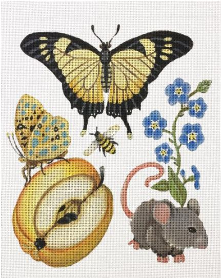 click here to view larger image of Butterfly Botanical with Mouse (hand painted canvases)