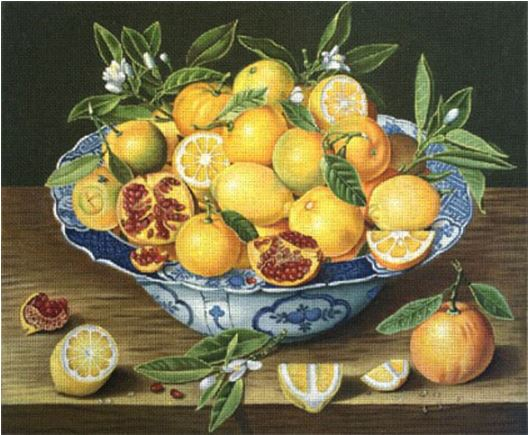 click here to view larger image of Citrus & Pomegranate (hand painted canvases)