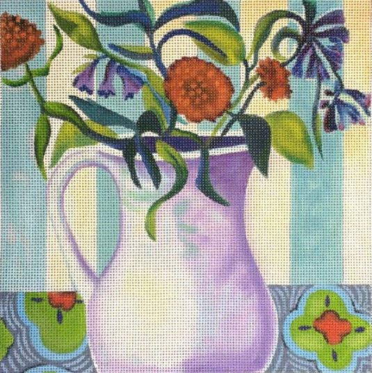 click here to view larger image of Orange Flower w/Purple Vase (hand painted canvases)