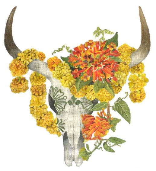 click here to view larger image of Marigold Skull (hand painted canvases)