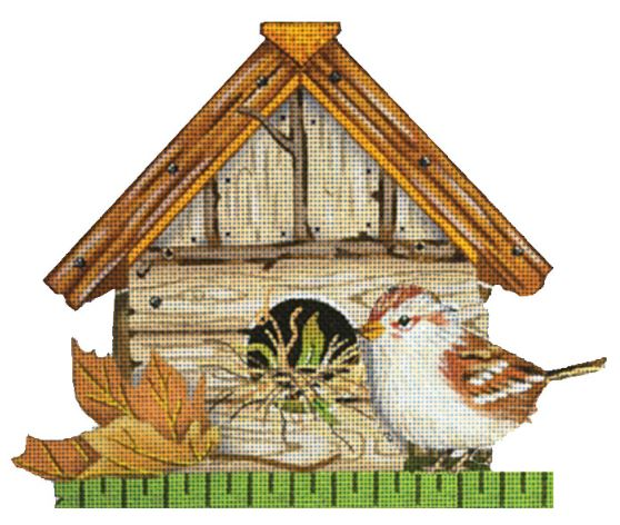 click here to view larger image of Bird House - Gold Leaf (hand painted canvases)