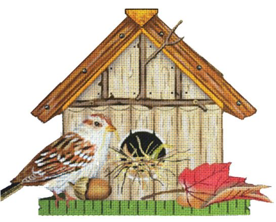 click here to view larger image of Bird House - Red Leaf (hand painted canvases)