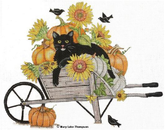 click here to view larger image of Black Cat in Wheel Barrow (hand painted canvases)