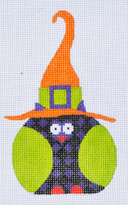 click here to view larger image of Purple Checkered Witch Owl (hand painted canvases)