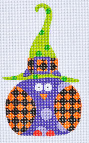 click here to view larger image of Orange Checkered Witch Owl (hand painted canvases)