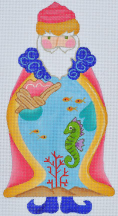 click here to view larger image of Seahorse Santa  (hand painted canvases)